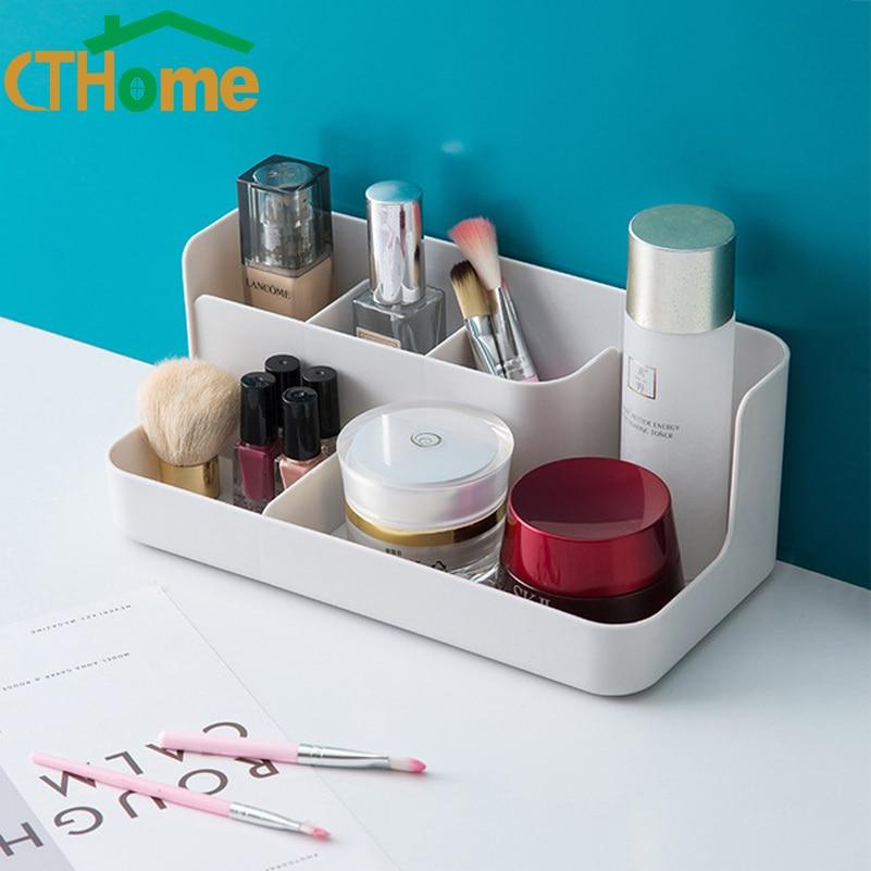 Plastic Makeup Organizer Bathroom Storage Box Cosmetic Organiser Office Desktop Make Up Jewelry Storage Box Sundries Container