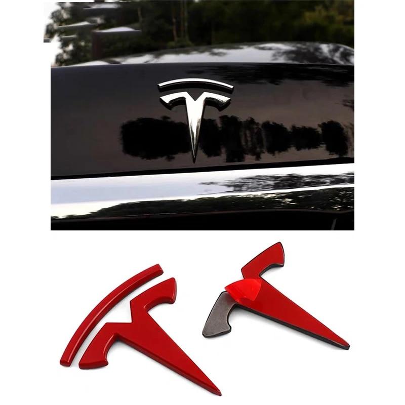 Silver Car 3D Metal Sticker for Tesla Model 3 X S Logo Car Rear Trunk Emblem Badge Window Body Decals Decoration Stickers Accessories