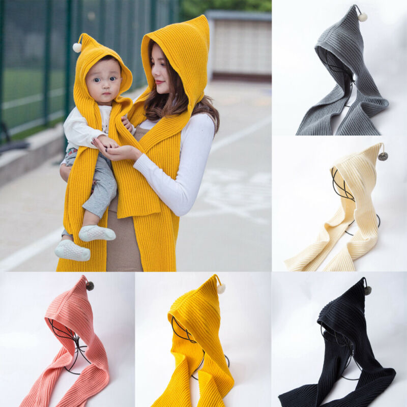 Hot Fashion Women Kids Hooded Scarves Winter Warm Long Knitted Crochet Scarf Solid Family Matching Headscarf Scarves Shawl Wrap