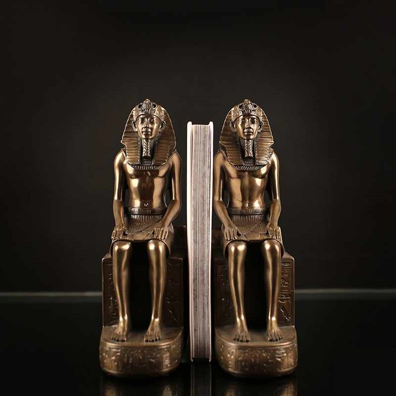 2Pcs/set Retro Ancient Egypt God Pharaoh Bookends Statue Resin Crafts Figure book end Sculpture Home Desktop Decoration R2925