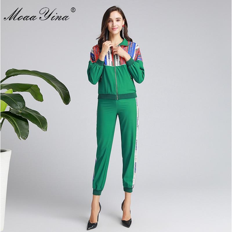 MoaaYina Fashion Designer Set Spring Autumn Women Long sleeve Zipper jacket Tops+Trousers Casual Motion Two-piece set