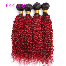 FEELME Brazilian Kinky Curly Hair Remy 1b/Burgundy Red Kinky Curly Human Hair Weave Bundles 1/3/4pcs Hair Extensions For Black