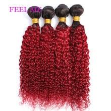 FEELME Brazilian Kinky Curly Hair Remy 1b/Burgundy Red Kinky Curly Human Hair Weave Bundles 1/3/4pcs Hair Extensions For Black