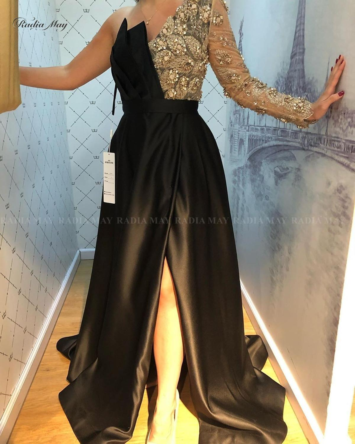 Dubai One Shoulder Black Satin Evening Dress With Slit One Sleeve Beaded Arabic Prom Dresses Burgundy Formal Party Gowns 2020