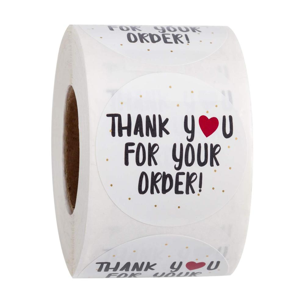 500pcs round thank you for your order sticker Heart Thanks for Shopping Small Shop Local Handmade sticker white labels sticker 1