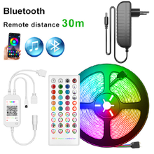 Colored RGB SMD5050 12V led strip waterproof addressable tape for kitchen 5M 10M 15M lights with Music Bluetooth remote control(China)
