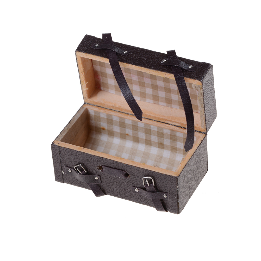 Brown 1/12 Dollhouse Miniature Carrying Vintage Leather Wood Suitcase Luggage Classic Toys Pretend Play Furniture Toys Accessory