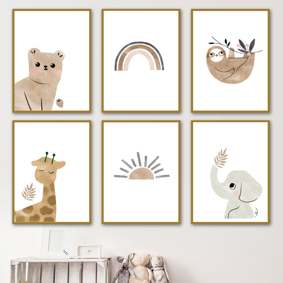 Nordic Posters And Prints Bear Elephant Giraffe Sloth Sun Rainbow Wall Art Canvas Painting Cartoon Wall Pictures Kids Room Decor|Painting & Calligraphy| - AliExpress