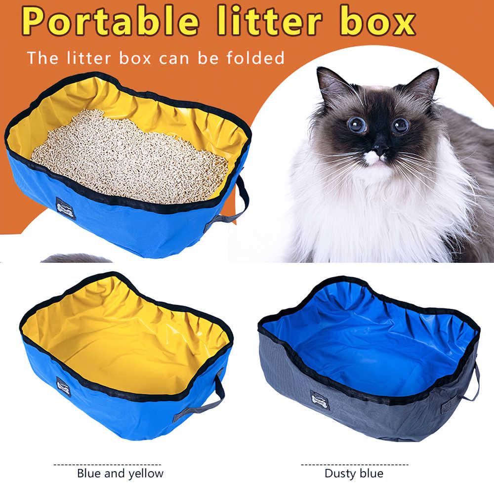 Składany kuweta dla kota przenośne toalety dla kotów wodoodporna tkanina oxford pcv kuweta samoczyszcząca do podróży na zewnątrz Camping użytku domowego
