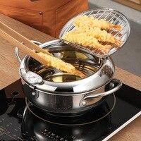 LMETJMA marmite japonaise avec un thermomètre et un couvercle 304 inox cuisine Tempura friteuse poêle 20 24 cm KC0405 2
