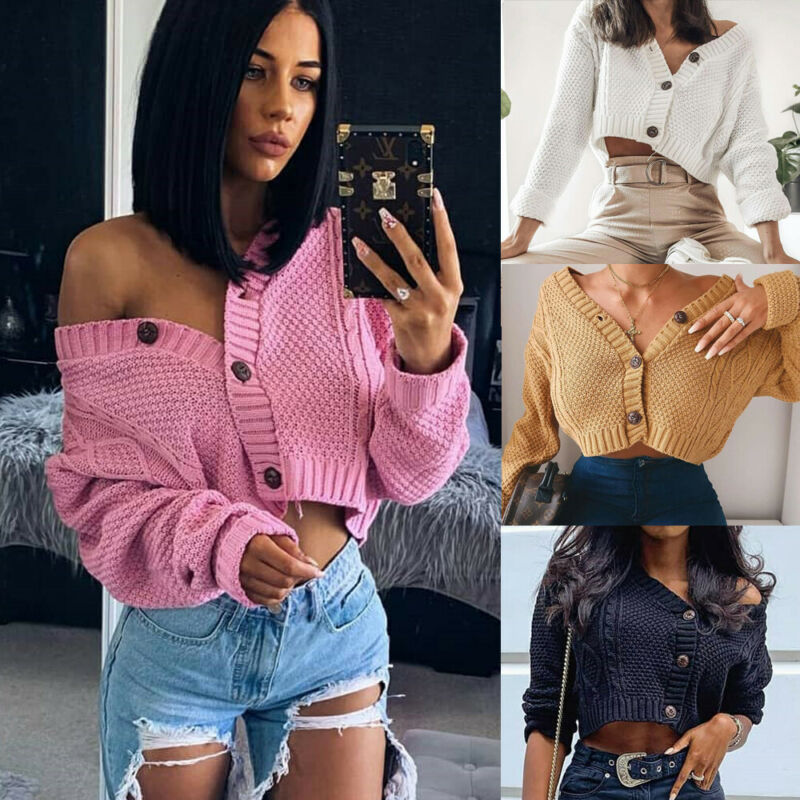 Women Knitted Cardigan Fashion Batwing Sleeve V-Neck Button Casual Cardigan Ladies Open Front Sleeve Sweater Coat Outwear Spring