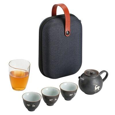 Ceramic Portable Travel Tea Set A Pot Three Cups