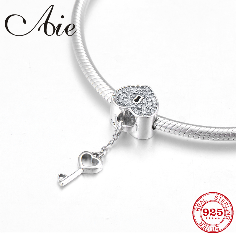 Hot Heart Shape Lock Key 925 Sterling Silver Clear CZ Fine Beads Fit Original Pandora Charm Bracelet Jewelry Making
