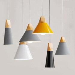 Lampa wisząca w stylu skandynawskim woden lampa wisząca do oświetlenia domu nowoczesna lampa wisząca aluminiowy klosz led żarówka oświetlenie kuchni e27 ing w Wiszące lampki od Lampy i oświetlenie na