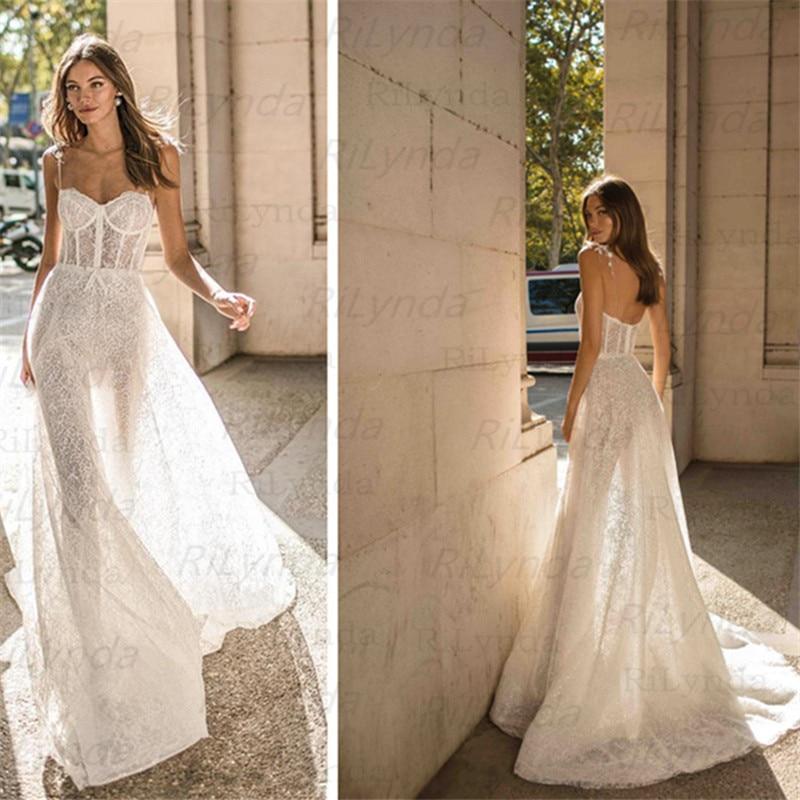 Wedding Dress 2020 Side Split Top Lace Boho Bride Dress Sexy Appliques Wedding Gown Custom Made Vestidos De Novia