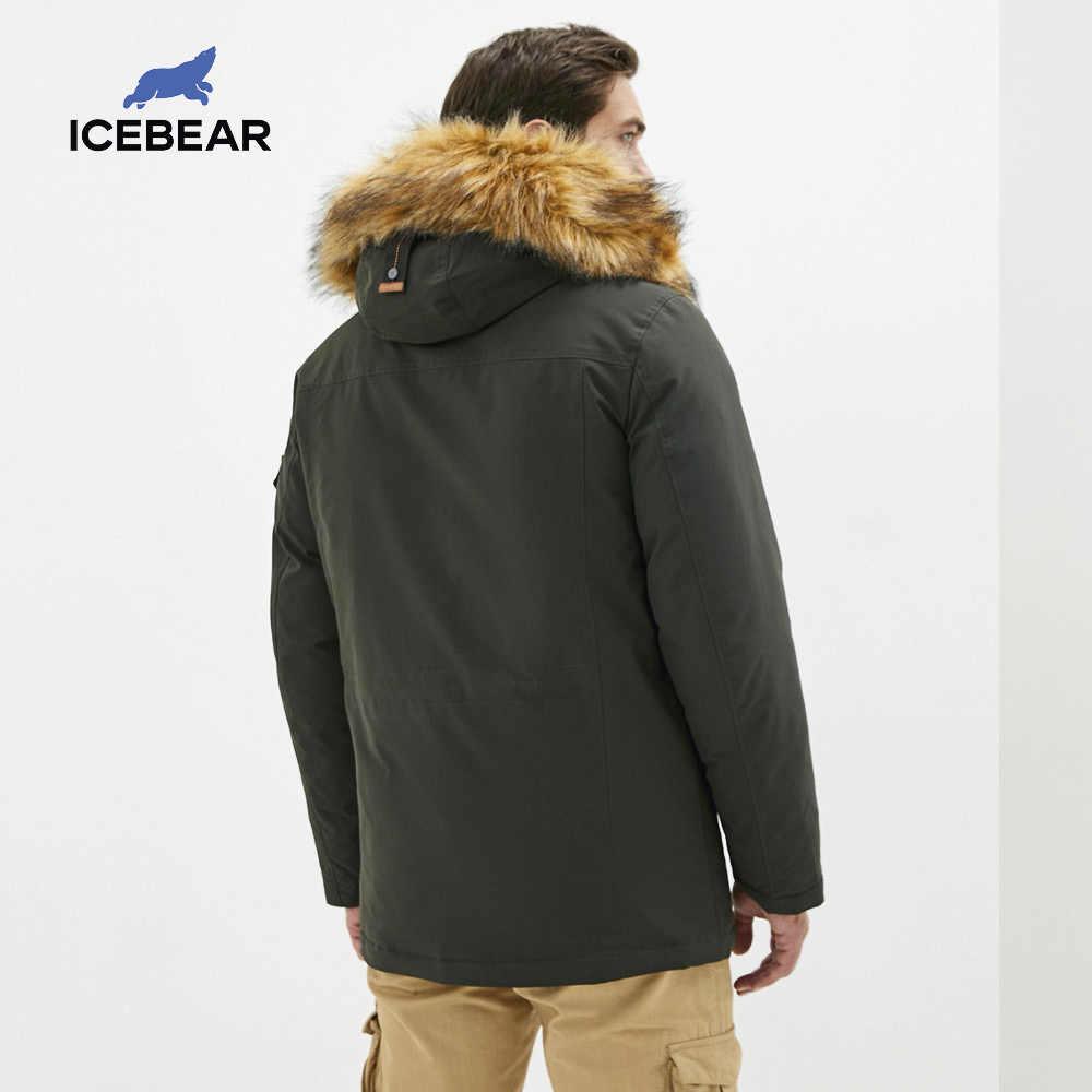 ICEbear 2020 겨울 새 남성 자 켓 모피 칼라 브랜드 의류 mwd20897d와 중간 길이 코 튼 자 켓