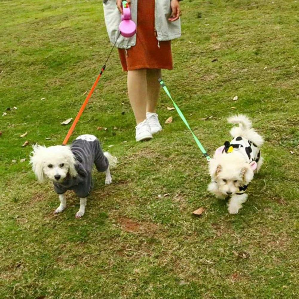 Laisse enrouleur double rétractable pour chiens