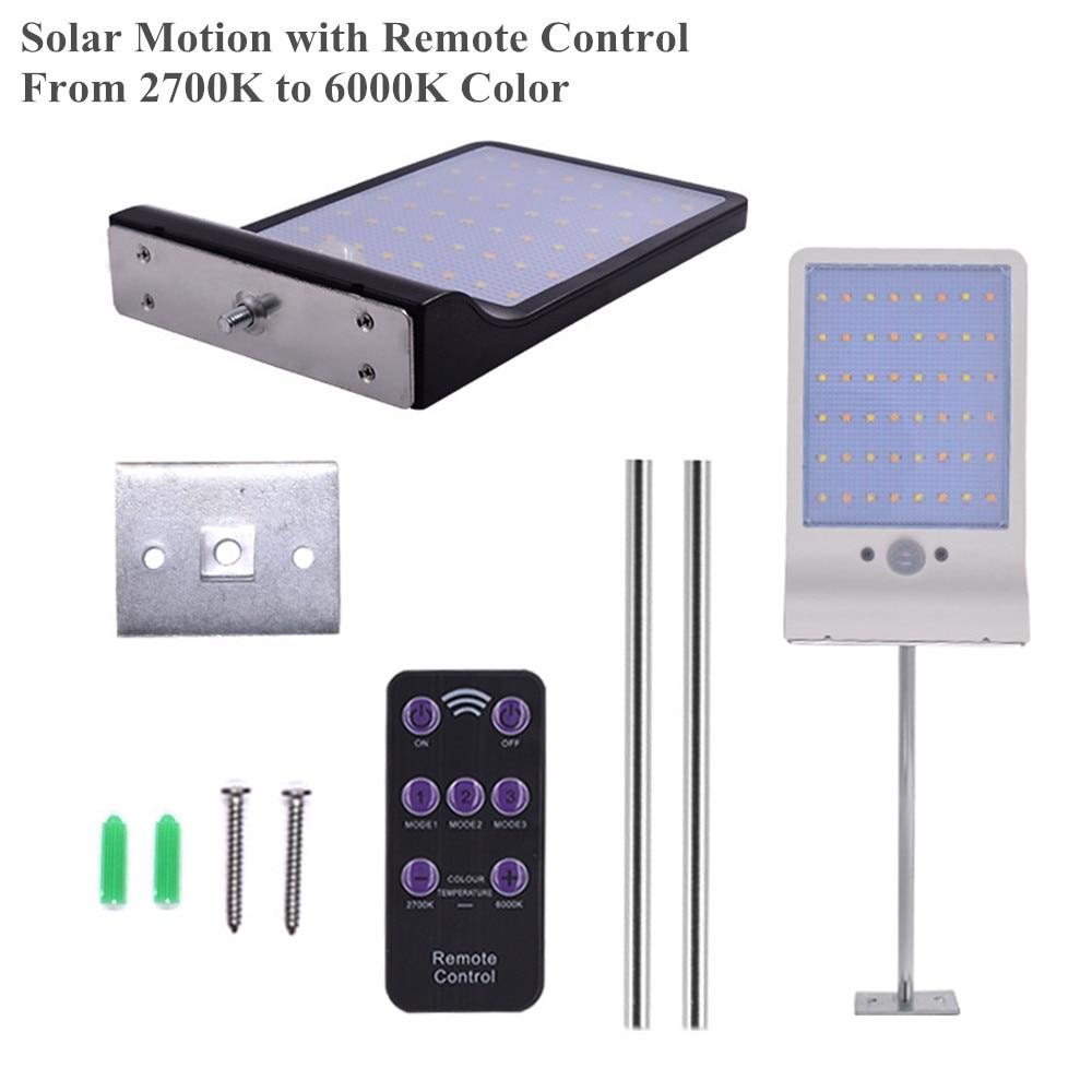 New Motion Sensor Solar Lamp 500LM 48LED PIR Sensor Solar Wall Light Remote Control For Garden Outdoor Solar Bracket Porch Light
