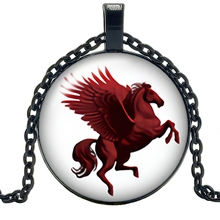 HOT! 2019 New Creative Red Pegasus Glass Cabochon Pendant Fashion Charm Girl Jewelry Horse Necklace When The Decoration кольцо для мамы из красного золота с бриллиантами топазом корона д0268 8 6014001