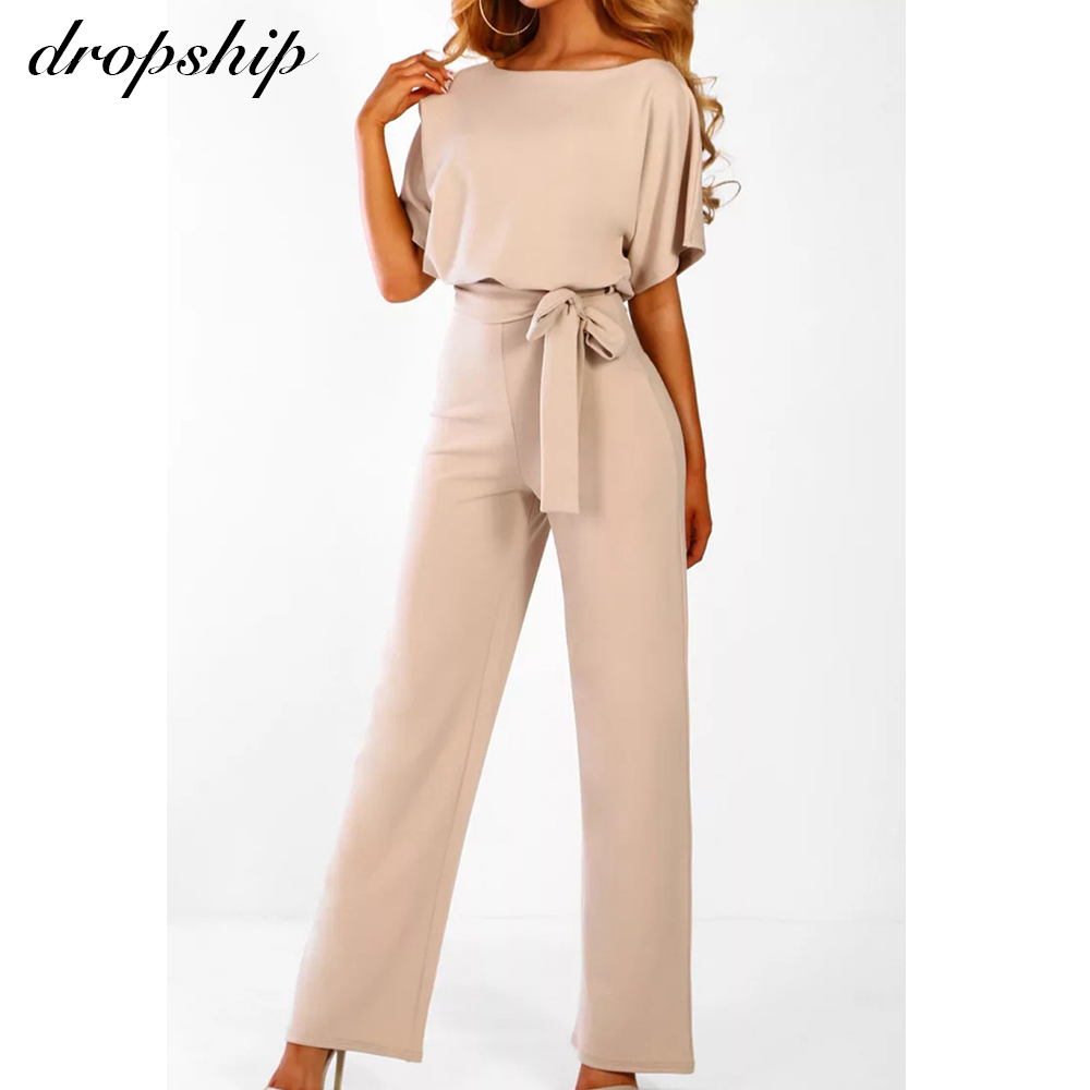 Dropship Jumpsuit Rompers Womens Overalls Women Jumpsuits 2020 Streetwear Plus Size Romper Spring Summer Lace up Short Sleeve| |   - AliExpress