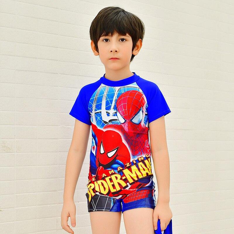 New Style One-piece Swimsuit For Children BOY'S Spider-Man Printed Swimwear Handsome Sunshine Spa Resort Boxers Swimwear