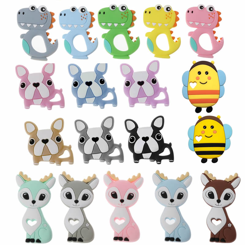 1PC Sika Deer/Dog /Dinosaur/bee Silicone Teether Cartoon Animal DIY Pacifier Clip Chain BPA Elk Baby Teether