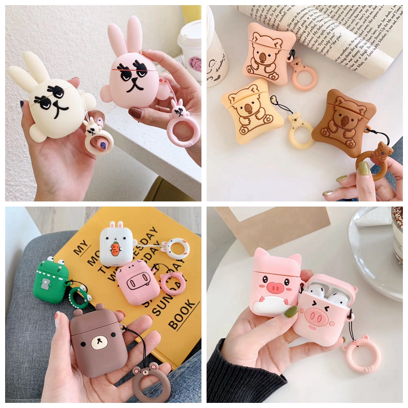 For AirPods Case Cute Cartoon Bear Panda Rabbit Earphone Case For Airpods 2/i10/i11/i12 TWS Protect Cover With Finger Ring Strap