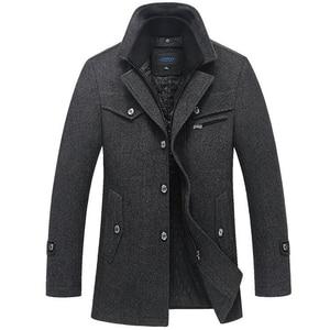 Image 1 - Abrigo de invierno para hombre, abrigos de lana gruesos a prueba de viento con cuello doble, prendas de vestir, chaqueta de invierno, Parka gruesa y cálida, ropa 5XL