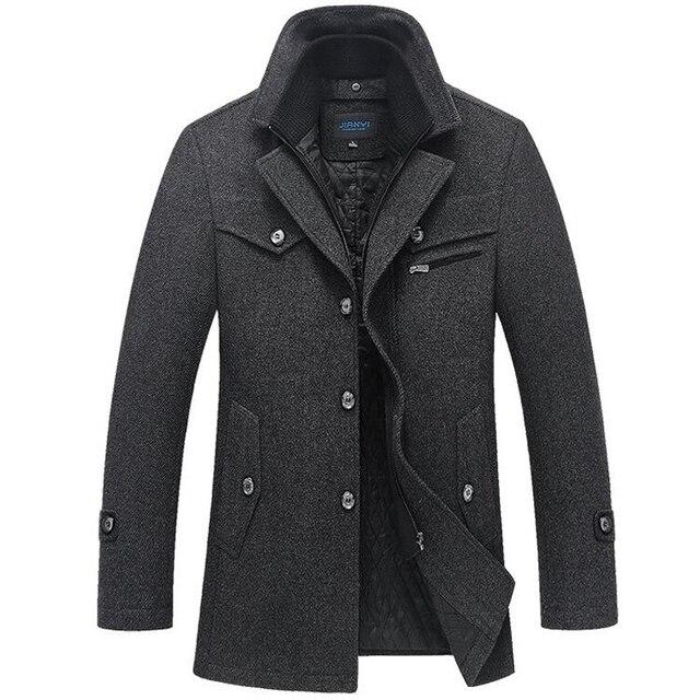 Abrigo de invierno para hombre, abrigos de lana gruesos a prueba de viento con cuello doble, prendas de vestir, chaqueta de invierno, Parka gruesa y cálida, ropa 5XL