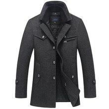 Cappotto di inverno Degli Uomini di Nuovo Modo di Doppio Collo Antivento Addensare Cappotti Di Lana Mens Outwear il Rivestimento di Inverno Caldo di Spessore Parka 5XL Vestiti