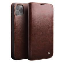 Retro skórzany futerał ze skóry wołowej dla iPhone11 portfel na karty torba smart cover biznes telefon z klapką etui na Apple iPhone 11 Pro Max