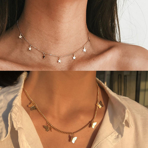 Gold Chain Pendant Necklace Fashion Female Necklaces Jewelry Simple Ladies Pentagon Star Cute Butterfly Choker Necklace Women