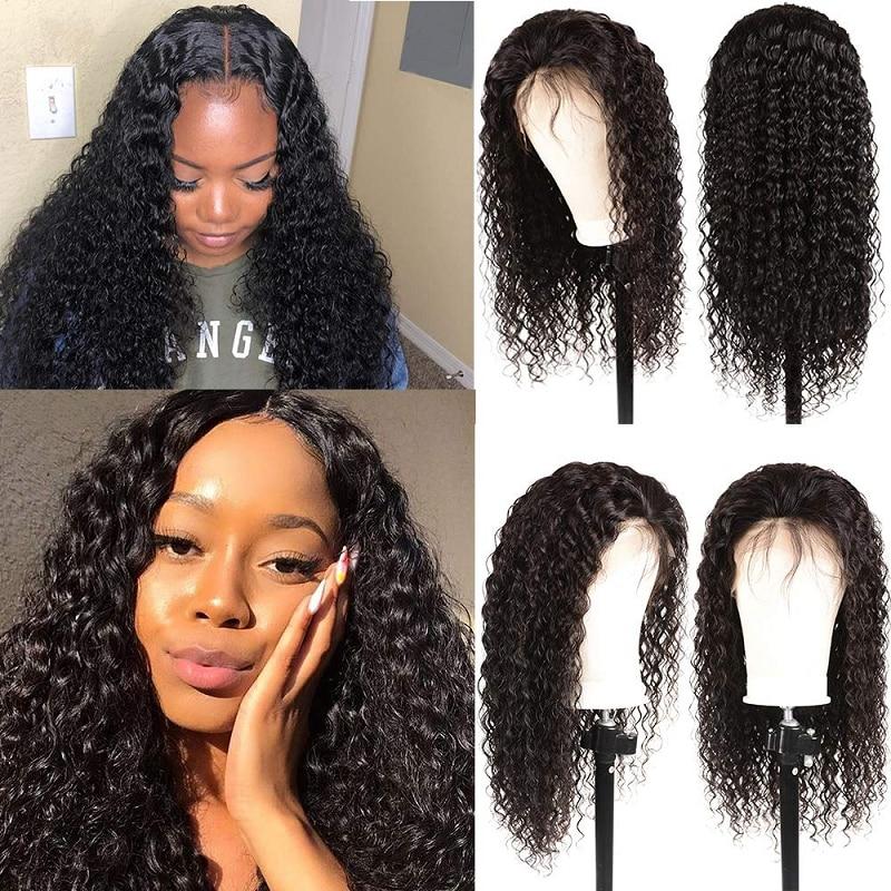 Water Wave Wig 4*1 Lace Part Human Hair Wigs Pre Plucked 150 Density Brazilian Remy Lace Topline Wig For Women WoWEbony