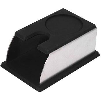 Paslanmaz çelik kahve sabotaj standı kahve tozu makinesi raf silikon Tamping Mat kahve sabotaj aracı aksesuar siyah