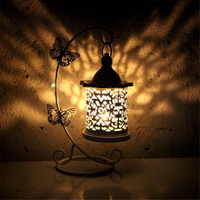 Candelabro de soporte hueco, candelabro colgante, farol, jaula para pájaros, gancho forjado Vintage, lámpara de velas para mesa, decoración de comedor para bodas