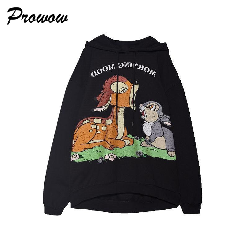 Hooded women clothing bambi warm Fur Lining cartoon printing Top Coat 2019 Autumn winter Jumper pullover streetwear sweatshirt