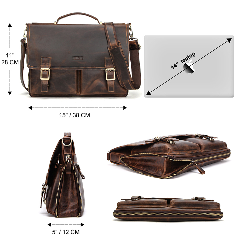 CONTACT'S Men Briefcase Bag Crazy Horse Leather Shoulder Messenger Bags Famous Brand Business Office Handbag for 14 inch Laptop 3