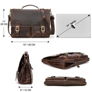 Image 3 - CONTACTS мужской портфель, сумка Crazy Horse, кожаная сумка через плечо, известный бренд, деловая офисная сумка для ноутбука 14 дюймов