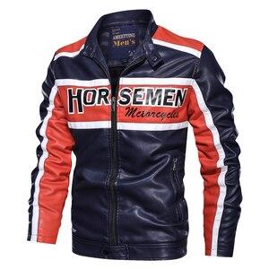 Image 5 - Negizber 2019秋冬オートバイのジャケットの男性カジュアルなスタンドカラージッパー革のジャケットの男性厚いフリースボンバージャケット男性