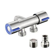Water Splitter Kitchen Bathroom Sink Faucet Diverter  Stainless Steel Household 3 Way Separator Easy Install Adapter Toilet