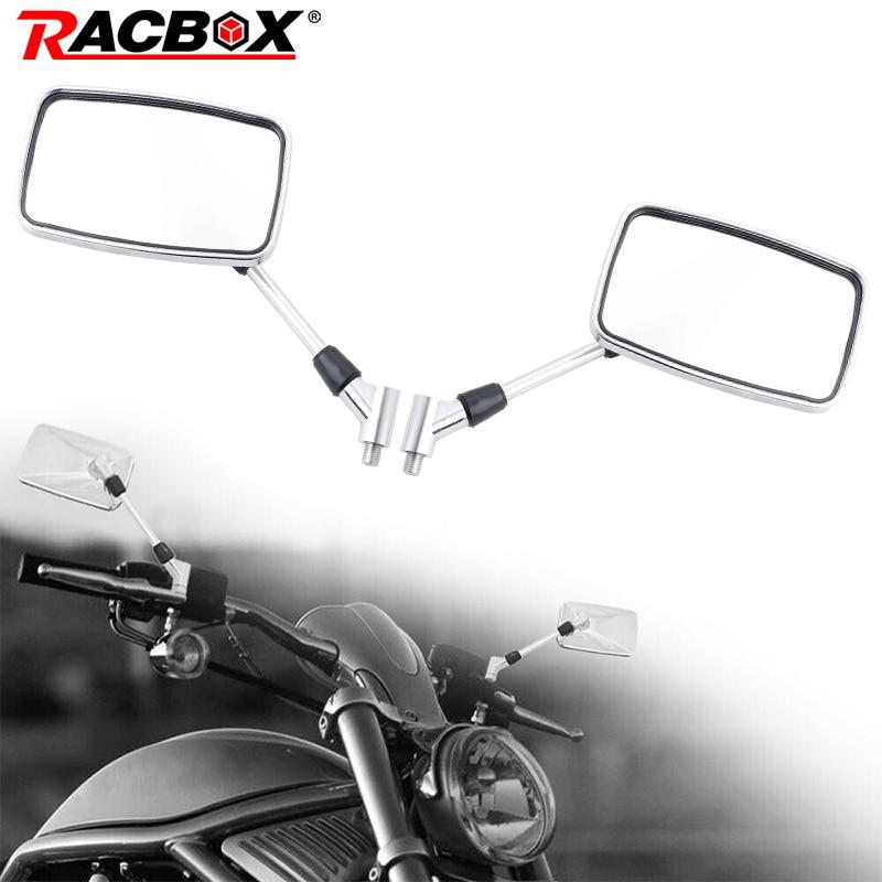Un par de espejos retrovisores de manillar de motocicleta de 10mm, espejo rectangular cromado para motor Universal ATV moto de cross Scooter Moped
