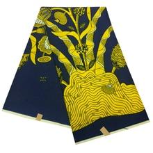 African Nigerian Ankara Wax Fabric Gold Flowers Printed Fabric For Dress