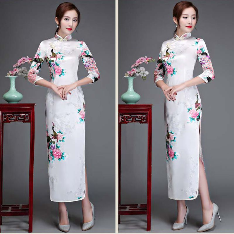 Cheongsam Modern Wedding Cheongsam New Silk Rayon Banquet White Dress Lady Cheongsam Chinese Style Printing Peacock Flower