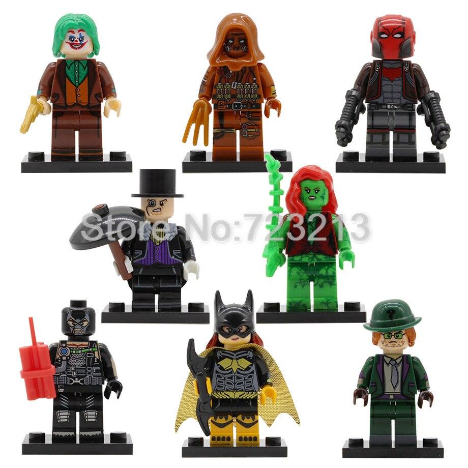 Single Super Hero X0227 Bane Riddler Figure Scarecrow Joker Poison Ivy Penguin Btgirl Red Hood Kits Buidling Blocks Brick Toys
