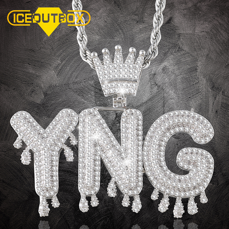 Dripping Bubble Initial Letters Custom Name Pendant With Crown For Women Men's Hip Hop Jewelry Full Cubic Zircon Drop Shipping