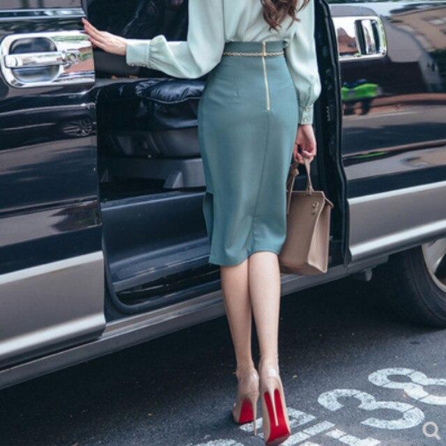 The 2020 autumn new women's Korean fashion show thin high waist skirt women's skirts pure color 3