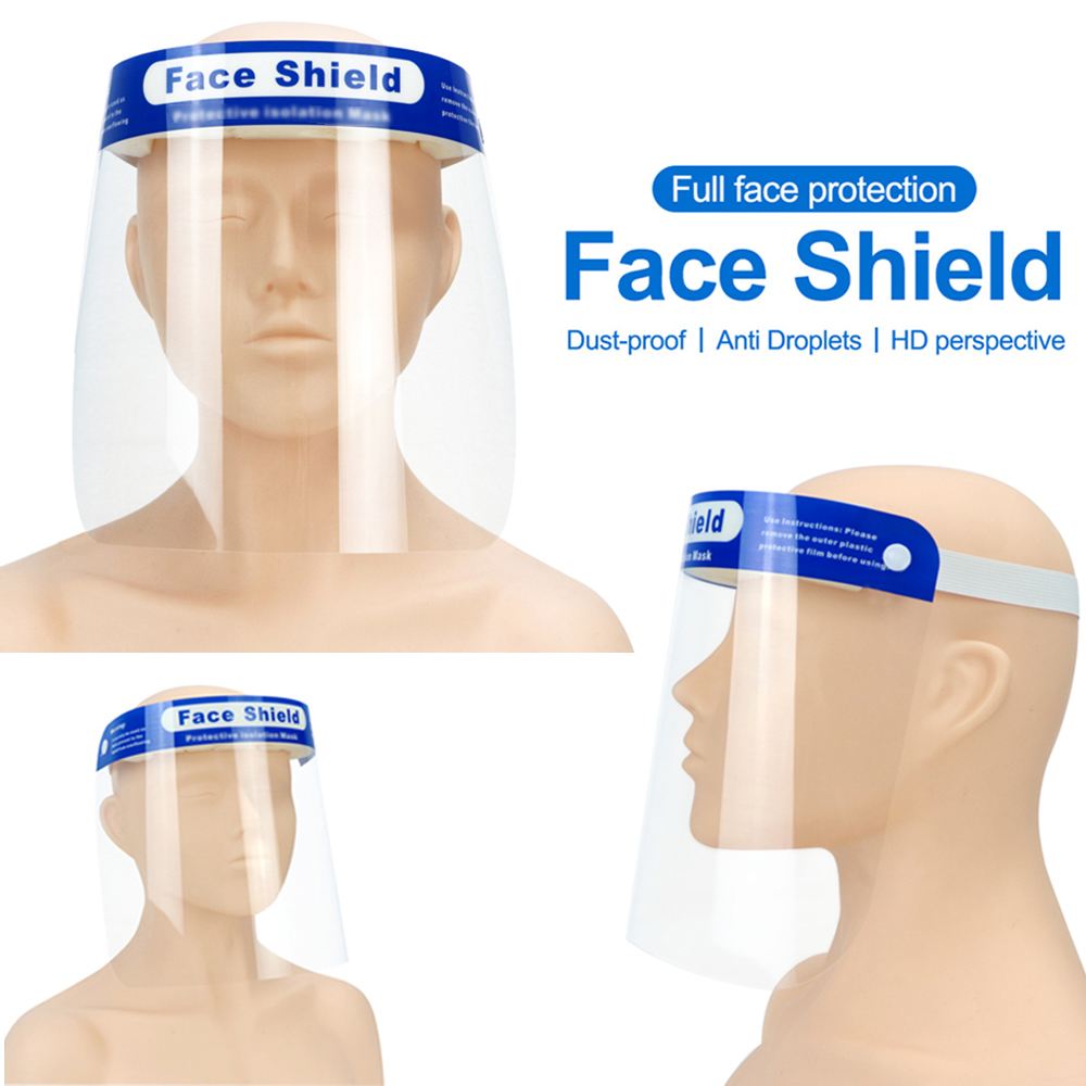 10pcs Safety Full Face Shield Anti-droplet Protective Faceshield Cover Visor Dust Proof Fog Screen Transparent For Dropshipping