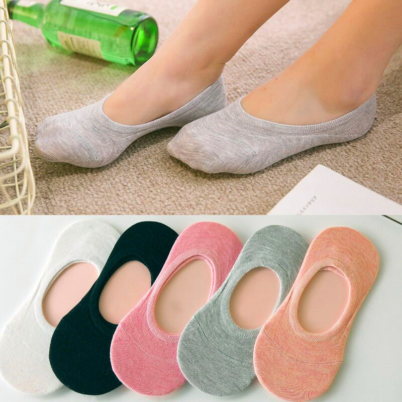 5Pairs Candy Color Solid Invisible Non-slip Low Cut Socks Fashion Women Casual Stripe Numbers Cotton Breathable Girls Boat Socks