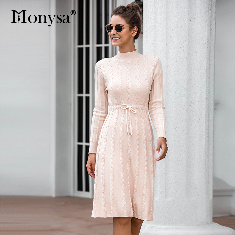 Autumn Winter Dresses 2019 New Arrival Fashion Casual Knee Length Knitted Dress Ladies Long Sleeve Sweater Dresses Black Blue 61