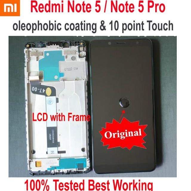 מקורי הטוב ביותר Xiaomi Redmi הערה 5 פרו MEG7S LCD תצוגת 10 נקודת מגע מסך Digitizer עצרת עם מסגרת Hongmi Note5 חיישן